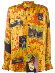 Yohji Yamamoto Vintage Printed Silk Shirt Yellow Orange