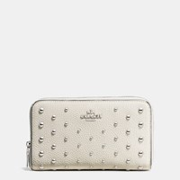 Coach Medium Zip Around Wallet In Polished Pebble Leather With Ombre Rivets Silver Chalk