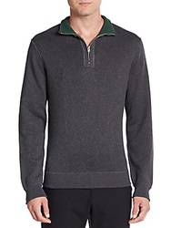Saks Fifth Avenue Half Zip Reversible Cotton Pullover Charcoal