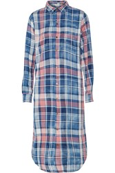 Current Elliott The Long Shirt Plaid Cotton Midi Dress Blue