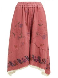 By Walid Solange Floral Embroidered Linen Skirt Pink