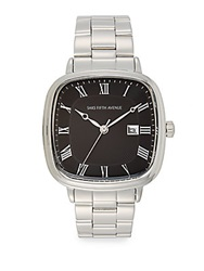 Saks Fifth Avenue Square Stainless Steel Watch Silver