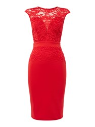 Jessica Wright Cap Sleeve Lace Bodycon Dress Red
