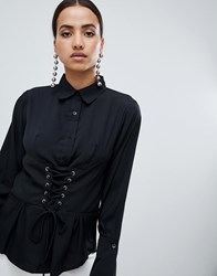 Ax Paris Long Sleeve Shirt With Corset Detail Black