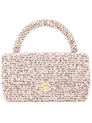 Chanel Vintage Quilted Cc Tweed Hand Bag Pink And Purple