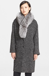 Theory 'Sekary' Wool Blend Coat With Genuine Fox Fur Collar Black White