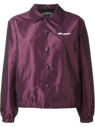 Stussy Buttoned Bomber Jacket Pink And Purple