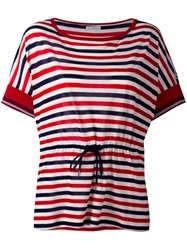 Moncler Drawstring Waist Striped T Shirt White