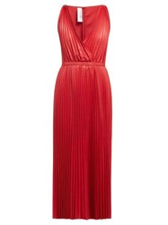 Valentino V Neck Pleated Leather Gown Red