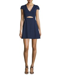Halston Cap Sleeve Cutout Dress Midnight
