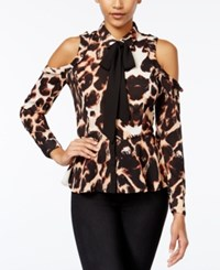Xoxo Juniors' Ruffled Cold Shoulder Peplum Blouse Leopard Multi