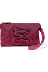 Red V Bow Embellished Faille Clutch Plum