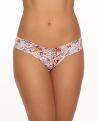 Hanky Panky Blanche Fleur Low Rise Signature Lace Thong Pink Pattern