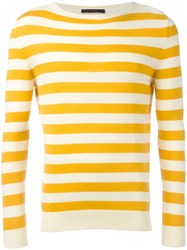 The Gigi Striped Knitted Sweater Yellow Orange