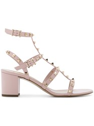 Valentino Garavani Rockstud Caged Sandals Women Leather Patent Leather 35.5 Pink Purple