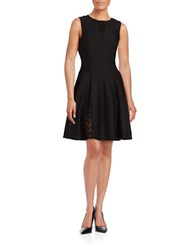 Taylor Lace Accent Fit And Flare Dress Black
