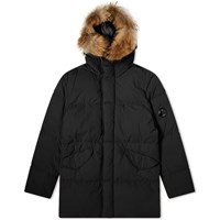 C.P. Company Long Fur Collar Down Parka Black