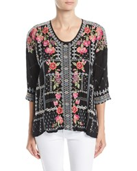 Johnny Was Carnation Embroidered Georgette Blouse Black