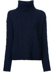 Nili Lotan Roll Neck Cable Knit Jumper Blue