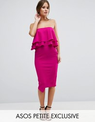 Asos Petite Double Ruffle Bandeau Pencil Dress In Texture Fuchsia Purple