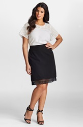 Mynt 1792 Lace Peekaboo Hem Skirt Plus Size Black