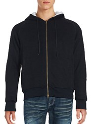 Saks Fifth Avenue Black Sherpa Zipper Hoodie Black