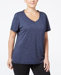 Ideology Plus Size Essential V Neck Performance T Shirt Only At Macy's Navy Serenity