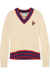 Gucci Appliqued Cable Knit Wool Sweater