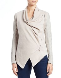 Blank Nyc The Draped Faux Leather Jacket Taupe