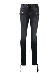 Unravel Project Lace Up Skinny Jeans Black