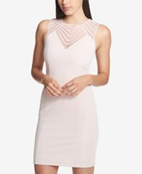Guess Mesh Yoke Bodycon Dress Pink
