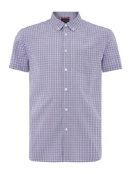 Criminal Pesham Mini Check Short Sleeve Shirt Purple