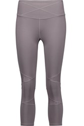 Yummie Tummie By Heather Thomson Leah Cropped Mesh Trimmed Stretch Jersey Leggings Gray