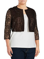 Kay Unger Metallic Tweed And Lace Jacket Chocolate