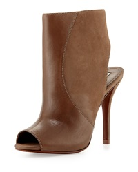 Schutz Quazar Leather High Heel Peep Toe Bootie Yucca