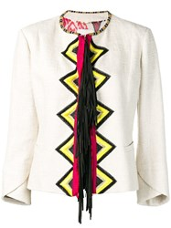 Bazar Deluxe Geometric Embroidered Jacket Neutrals