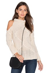 Roi Cold Shoulder Cable Sweater Beige