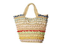San Diego Hat Company Bsb1725 Paper Tote With All Over Baby Poms Multi Tote Handbags
