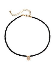 Cara Semi Precious Stone And Crystal Pendant Choker Necklace Black Gold