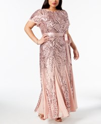 R And M Richards Plus Size Sequined Godet Gown Rose Gold