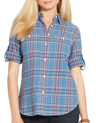 Lauren Ralph Lauren Petite Plaid Button Front Shirt Blue