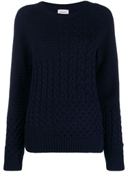 Woolrich Cable Knit Jumper Blue