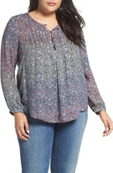 Lucky Brand Plus Size Women's Pintuck Woven Peasant Top