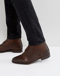 Asos Chukka Boots In Brown Leather With Borg Lining