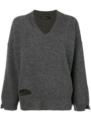 Federica Tosi V Neck Oversized Knit Top Grey