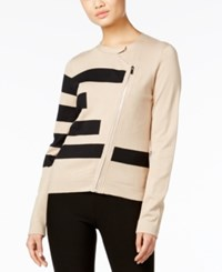 Grace Elements Asymmetrical Zip Sweater Jacket Tan Black
