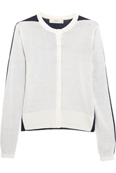 Pringle Two Tone Silk And Cotton Blend Cardigan White