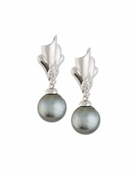Belpearl 14K Sculptural Tahitian Pearl And Diamond Drop Earrings