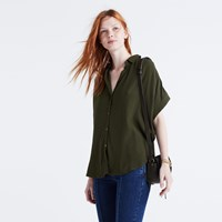Madewell Central Drapey Shirt Forest Moss