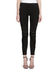 Saint Laurent Zip Knee Suede Leggings Black